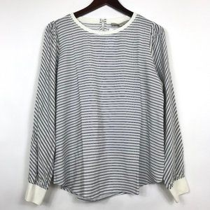 LOFT Women Small Blouse Striped Blue Back Key Hole